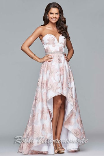 Long floral printed strapless dress with beaded belt and high-low skirt | modelnr g-2-203
