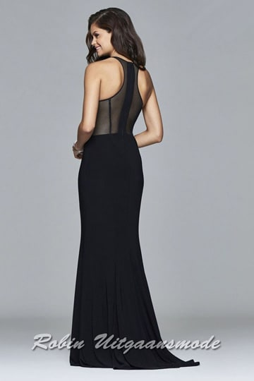 Modern fitted prom dress in beautiful black tricot and transparent side cut outs | modelnr g-2-206
