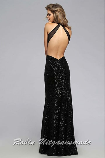 Black prom dress with low back and sweetheart illusion halter neckline | modelnr g-2-212