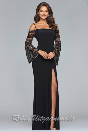 Black long dress with cold-shoulders, a high slit and beaded bell sleeves | modelnr g-2-216