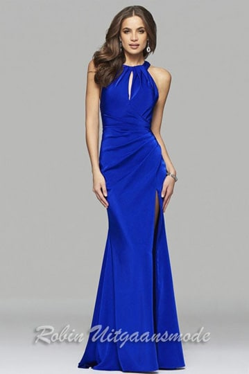 Blue high-necked prom dress with key-hole open back and high slit  | modelnr g-2-217