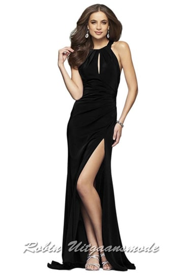 Black high-necked prom dress with key-hole open back and high slit  | modelnr g-2-217