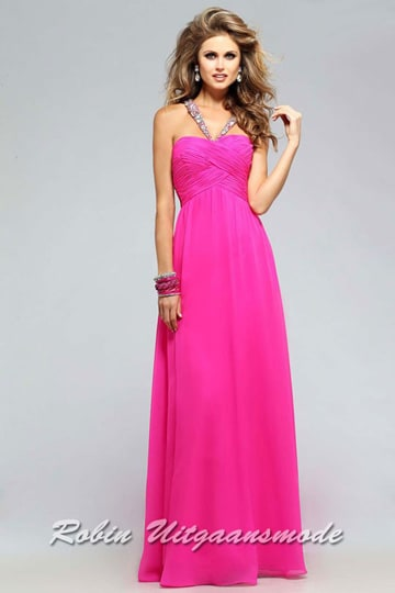 Pink sweetheart party dress with beaded halter straps and a draped bodice | modelnr g-2-220