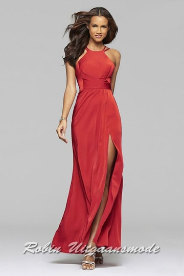 High neck line prom dress with a low back and slit, available in Bordeaux red | modelnr g-2-223
