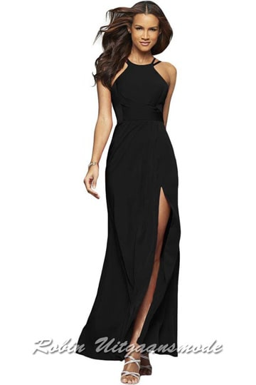 High neck line prom dress with a low back and slit, available in black and bordeaux red| modelnr g-2-223