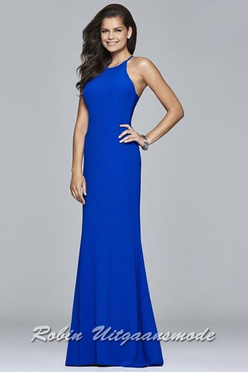 Blue fitted long prom dress with a high neck line and flary skirt. | modelnr g-2-225