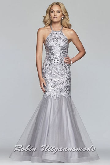 Stunning prom dress, the entire bodice is embroidered with sequins and appliqués, with high halter neckline and a mermaid tulle skirt | modelnr g-2-229