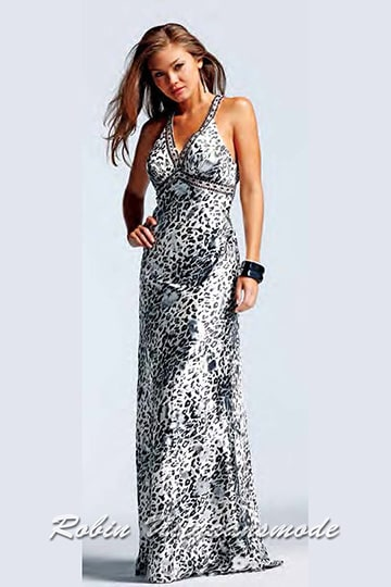 Black and white panther print evening dress with V-neck and low back. | modelnr g-2-5