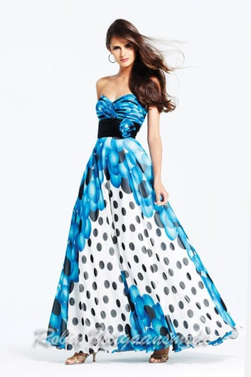 Stunning strapless prom dress features a multi-print bodice and skirt with polka dots. | modelnr g-2-57