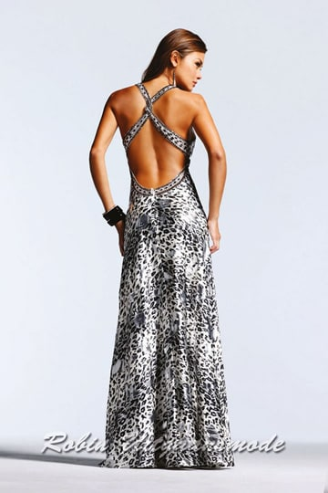 Black and white tiger print prom dress, the bodice is decorated with straps along the V-neck and crosses the low open back | modelnr g-2-5