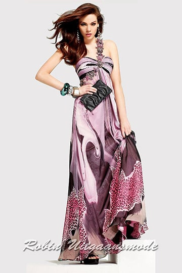 Cheap strapless party dress with a one shoulder strap and  a stunning multi print fabric | modelnr g-2-63