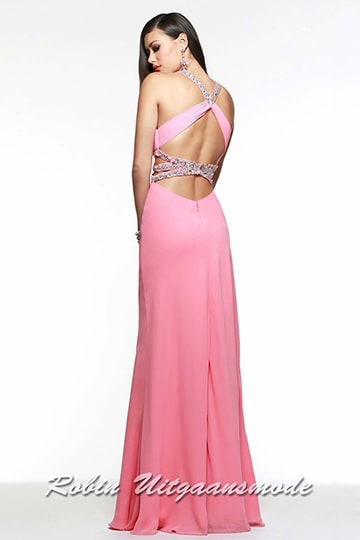 Glamoureus pink dress with studded straps across the open back. | modelnr g-2-72