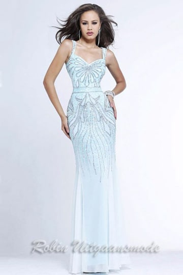 Long prom dress in light blue with gold colored beaded bodice and skirt | modelnr g-2-85