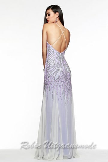 Purple with white long prom dresses where the slim spaghetti straps creates a crisscross styling at the open back | modelnr g-2-95