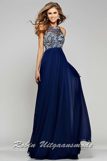 Luxury dress with beaded bodice, a small keyhole back and chiffon skirt, in different colours | modelnr g-2-97