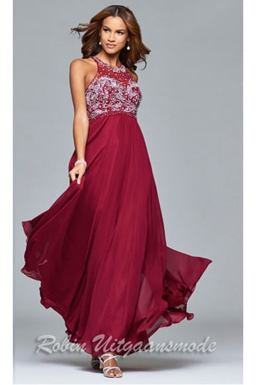 Chiffon evening dress with richly decorated sequin bodice and high neckline, in light summer and dark winter colours | modelnr g-2-97