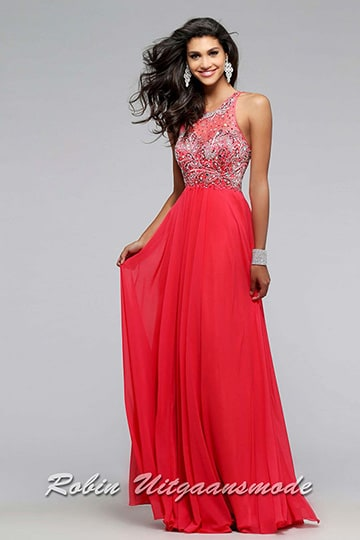 Luxury prom dress in red with beaded bodice, a small keyhole back and chiffon skirt | modelnr g-2-97