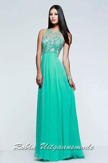 Exclusive chiffon evening dress with beaded bodice, a small keyhole back in a variety of colours | modelnr g-2-97