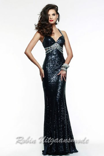 Sparkle and shine navy blue prom dress with side cutouts and silver centre beading | modelnr g-2-98