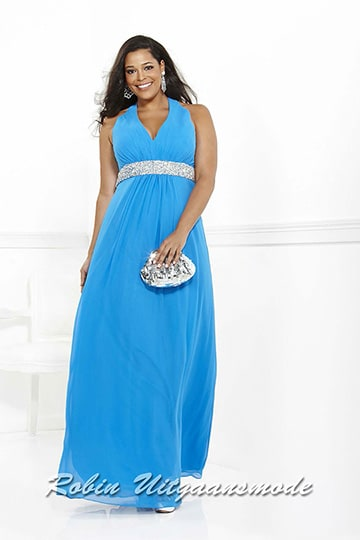 Plus size evening dress with halter neck line and sequin waistband in light blue up to size 46 | modelnr g-3-29