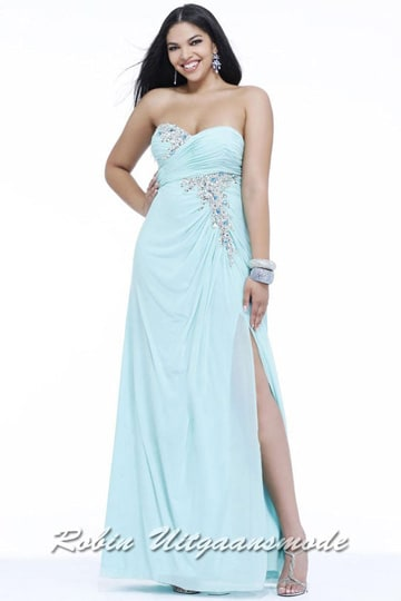 Long prom dress with glamour look in the plus sizes | modelnr g-3-35