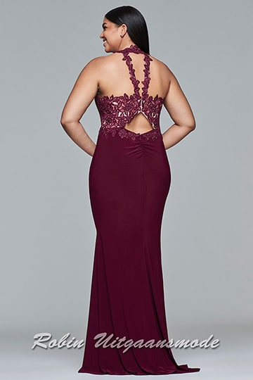 Bordeaux red plus size prom dresses with embroidered bodice and lace-up back | modelnr g-3-42