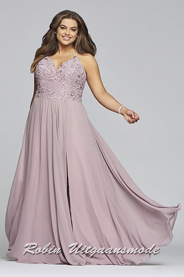 Evening dress in large sizes with lace bodice and chiffon skirt in mauve | modelnr g-3-43