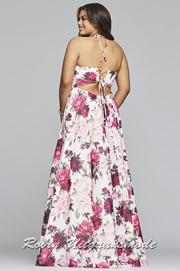 A-line prom dress with a floral print, a deep V-neckline, wide shoulder straps and semi-open criss-cross back | modelnr g-3-44