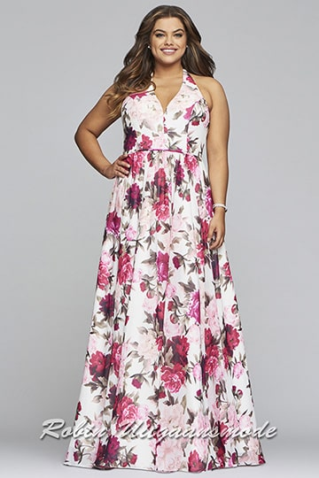 Cheerful plus size evening dress featured a floral print in the white red pink | modelnr g-3-44