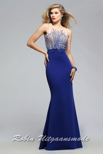 Long evening dress with high-necked boat neck, the bodice features royal blue liquid beading on sheer nude fabric | modelnr g-5-15