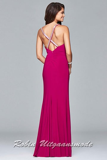 Long fitted evening dress with high slit, a V-neck bodice features a low back adorned with beaded straps for a bit of glam | modelnr g-5-17