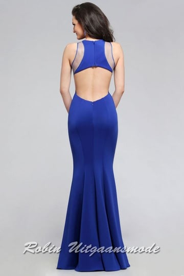 Mermaid silhouette prom dress with an illusion high neckline, side cut-outs and a half-open back | modelnr g-5-24