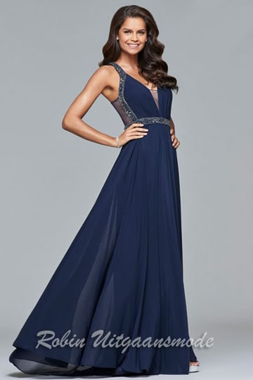 Navy-blue evening dress with an illusion insert on the V-neck and beautifully beaded straps, waistband and on the mesh back | modelnr g-5-3