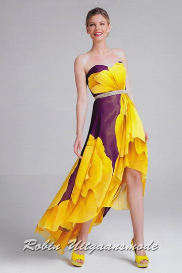 Stunning high-low dresses with strapless bodice in a unique print in yellow and purple | modelnr g-a2-30