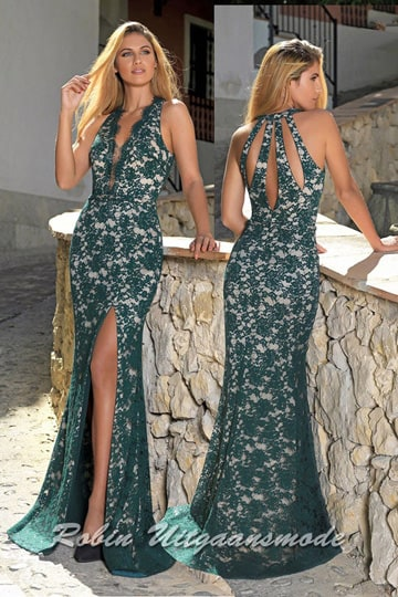Lace prom dress decorated with a floral pattern, an illusion deep V-neck, high slit and drop-shaped openings on the back. | modelnr g-a2-35