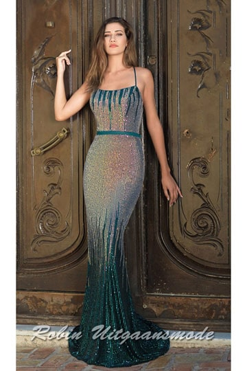 Fitted mermaid prom dress fully beaded with sequins, the spaghetti straps run all the way to the criss-cross low back | modelnr g-a2-37