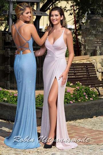 Sexy prom dress with a high slit, deep V-neckline and a criss-cross closing at the low back | modelnr g-a2-40