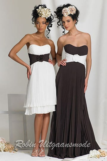 Black and white evening dress with strapless top, available with long and short skirts | modelnr g-b2-2