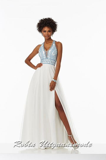 Long prom dress with light blue lace bodice and white skirt | modelnr g-mo2-17
