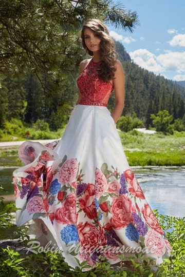 Romantic floral printed prom gown with beaded lace bodice and criss-cross back | modelnr g-mo2-20