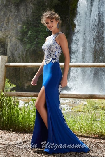 Modern blue halter neckline dress with beaded embroidered bodice and side slit | modelnr g-mo2-22