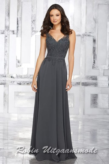 Beautiful chiffon evening dress with embroidered beaded bodice | modelnr g-mo2-26