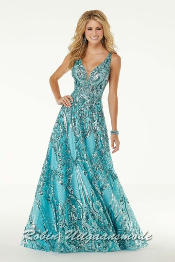 Shining fitted prom dress with sequins in A-line flared, in aqua blue with V-neckline and a low back | modelnr g-mo2-57