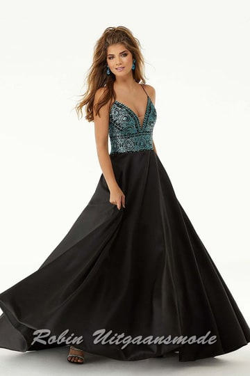 The black satin prom dress featured with an aqua coloured beaded bodice, a half-low back and a flared skirt with pockets. | modelnr g-mo2-63