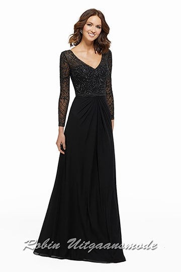 Black evening dress with V-neck and keyhole back, featured with a beaded embroidery on the bodice and the long sleeves. | modelnr g-mo2-69.jpg