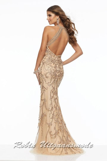 Glamorous prom dress decorated with beaded metallic applications on lace fabric and a high neckline. | modelnr g-mo2-73