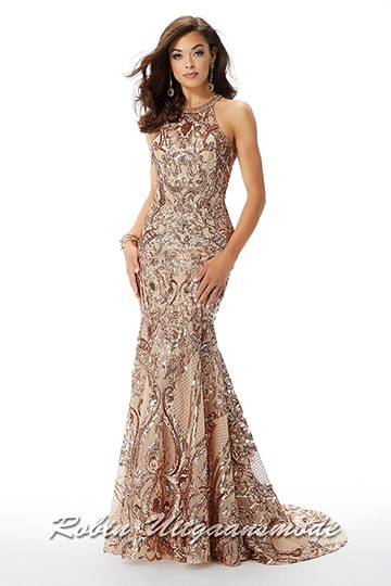 Glamoureus fit to flare rose-gold prom dress with glittering sequins and sequins, a high halter neckline and small train | modelnr g-mo2-77