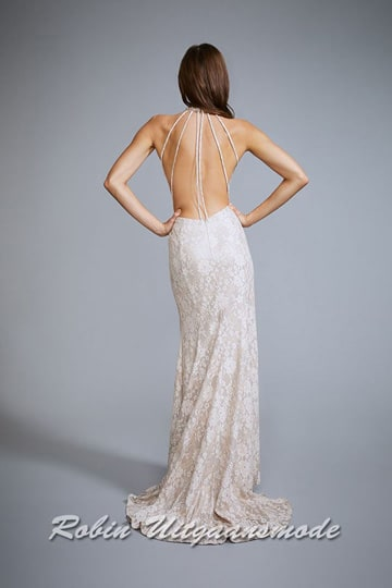 Long evening dress with floral lace pattern, a high-closed halter neckline, low back and high slit | modelnr g-n2-139