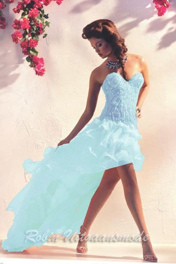 Shimmering light blue prom dress features a beaded sweetheart bodice and a high-low skirt. | modelnr g-n2-161