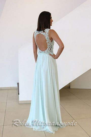 Long evening dress with a lace overlay bodice and a round open back | modelnr g-n2-65